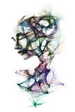 Hand painted portrait of a woman and the layers of her mind depi Royalty Free Stock Images