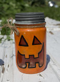 Hand Painted Pumpkin Jar Crafts Royalty Free Stock Photo
