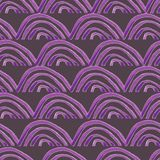 Hand painted purple scallops seamless pattern on purple background royalty free illustration