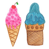 Hand painted real watercolor ice cream cone - illustration. Royalty Free Stock Photo