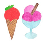 Hand painted real watercolor ice cream cone illustration Stock Photo
