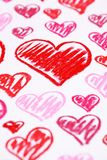 Hand painted red hearts. Pastel chalks Valentine's Day abstract background Royalty Free Stock Image