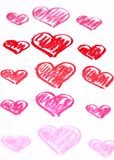 Hand painted red hearts. Pastel chalks Valentine's Day abstract background Stock Photo