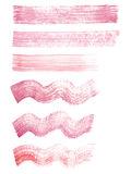 Hand painted red and pink watercolor grunge straight and wavy strokes textures. Hand painted red and pink watercolor grunge straight and wavy brush strokes royalty free illustration