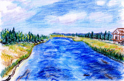 Hand-painted river. S, raging river, blue sky and white clouds, green space Stock Photos
