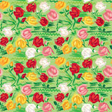 Hand painted roses seamless pattern in pink Stock Image