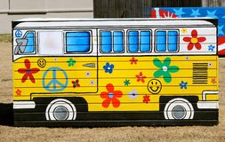 Hand Painted 1960's Volkswagen  Party Bus Royalty Free Stock Photo