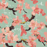 Hand painted  sakura seamless pattern on turquoise background Royalty Free Stock Images