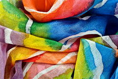 painted silk fabric Stock Photos