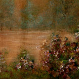 Hand Painted Scenic Background. Hand painted floral background with deep browns, golds, greens and mauves (painted by myself Royalty Free Stock Photos