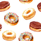 Hand painted seamless background with cookies - donuts Royalty Free Stock Photography