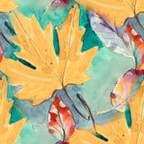 Hand painted seamless pattern. watercolour autumn leaves. beautiful nature element. illustration. digital drawing and. Hand painted seamless pattern. autumn royalty free illustration
