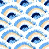 Hand painted seamless pattern. Blue and white acryllic brushstroke. Mermaid scale Abstract endless texture