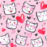 Hand painted seamless pattern with cute kittens. Watercolor bright cartoon cats on the white background. Lovely texture. Royalty Free Stock Images