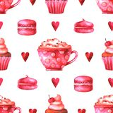 Hand painted seamless pattern with watercolor cup with coffee, cake, macaroons, marshmallows and hearts royalty free illustration
