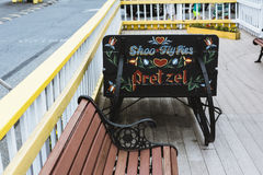 Hand painted sign on deck outside resteraunt Royalty Free Stock Images