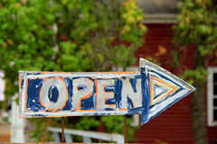 Hand painted sign that reads 'open' Stock Photos