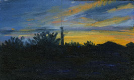 Hand Painted Silhouette of Lighthouse at Sunset. oil painting.  Stock Photography