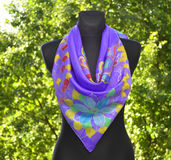 Hand painted silk scarf Stock Images