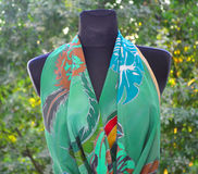 Hand painted silk scarf Stock Photo