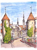 Hand painted sketch of gate of Tallinn town Royalty Free Stock Images