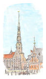 Hand painted sketch of Riga town square. Watercolor view Stock Photography