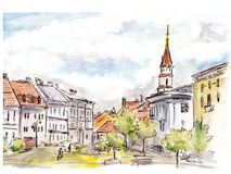 Hand painted sketch of Vilnius city street. Watercolor and liner Royalty Free Stock Photo