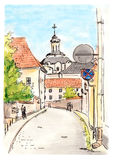 Hand painted sketch of Vilnius town street Royalty Free Stock Photography