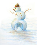 Hand painted snowman Xmas theme Royalty Free Stock Image