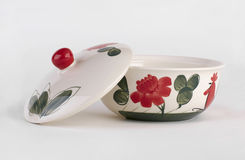 Hand painted soup bowl with cover Stock Photo