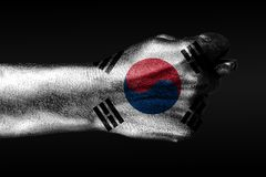 A hand with a painted South Korea,flag shows a fig, a sign of aggression, disagreement, a dispute on a dark background. Horizontal frame royalty free stock photo