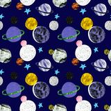 Hand painted space seamless pattern with stars and planets on dark blue background. Cosmos print with satellites . Sci fi. Hand painted space seamless pattern vector illustration