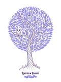 hand painted stylized tree watercolors также вектор иллюстрации притяжки corel иллюстрация штока