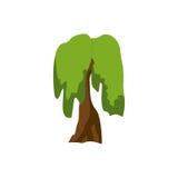 hand painted stylized tree watercolors alien кот шаржа избегает вектор крыши иллюстрации Стоковые Изображения RF