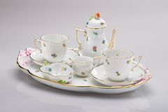 Hand painted tea service Royalty Free Stock Images