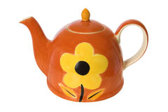 Hand painted teapot. Hand painted colorful teapot isolated against a white background Stock Photography