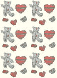 Hand painted teddy bear and heart. Seamless background. Royalty Free Stock Images