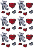 Hand painted teddy bear and hearts. Seamless background. Stock Photography