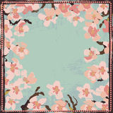 Hand painted textured blooming sakura frame Stock Image