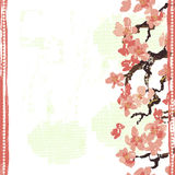 Hand painted textured blooming sakura seamless border Stock Photography