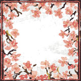 Hand painted textured blooming sakura vignette Royalty Free Stock Image