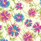 Hand painted textured cheerful floral seamless pattern Stock Images