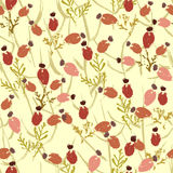 Hand painted textured  forest   berries seamless pattern Stock Images