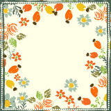 Hand painted textured forest flowers and berries frame Stock Photo