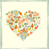 Hand painted textured  forest  flowers and berries heart Stock Photo