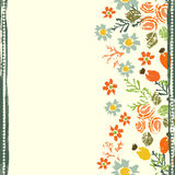 Hand painted textured forest flowers and berries seamless border Stock Image