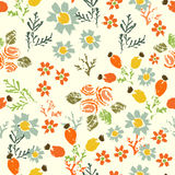 Hand painted textured  forest  flowers and berries seamless patt Stock Images