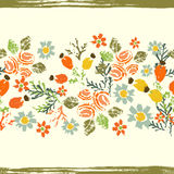 Hand painted textured  forest  flowers and berries seamless ribb Stock Photos