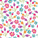 Hand painted textured  meadow flowers and berries seamless patte Royalty Free Stock Photos