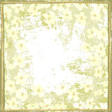 Hand painted textured white spring flowers shabby frame Royalty Free Stock Images